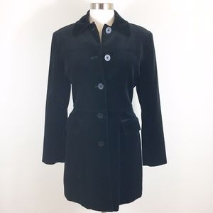 XOXO Black Velvet Button Up Coat